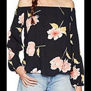 Billabong Black Off the Shoulder Floral Shirt